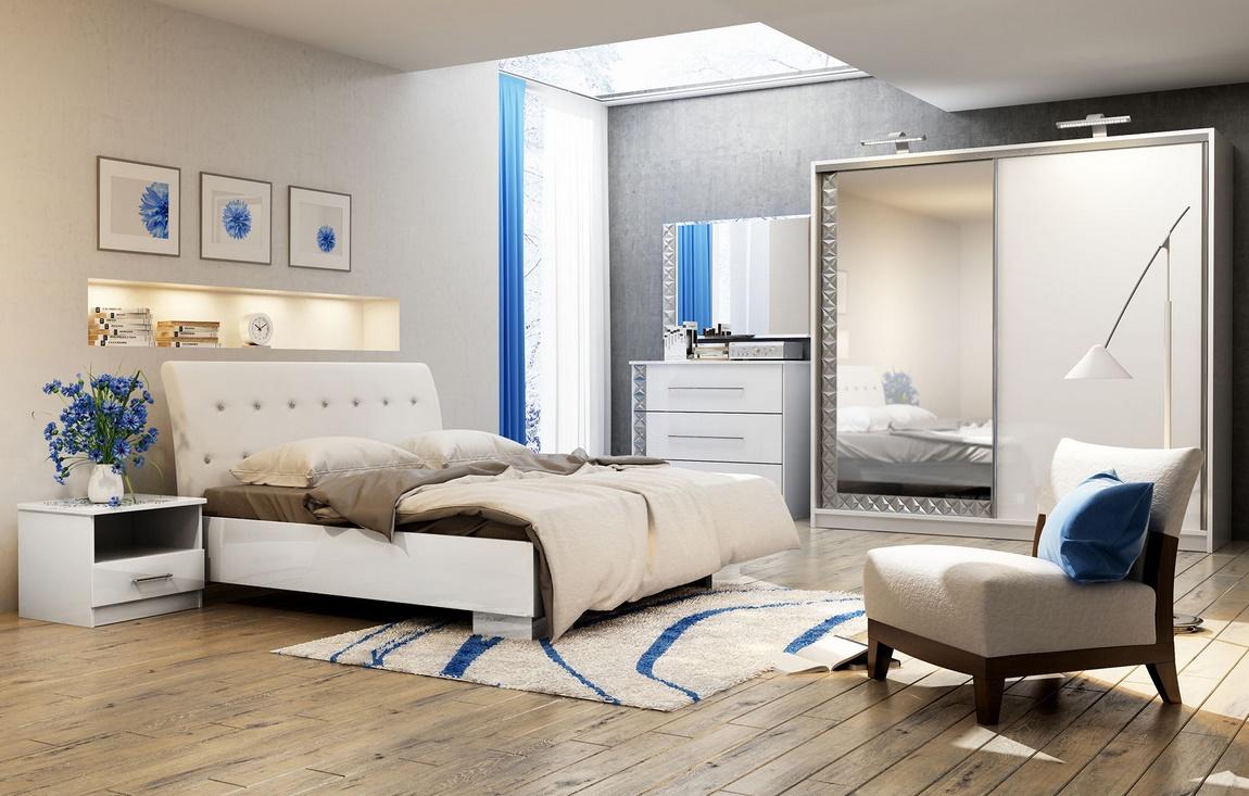 Spálňa PALERMO (postel 160, skriňa, komoda, 2 Nočné stolíky)