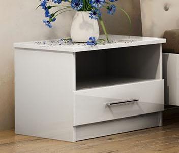 nočný stolík PALERMO bílý/bílý lesk