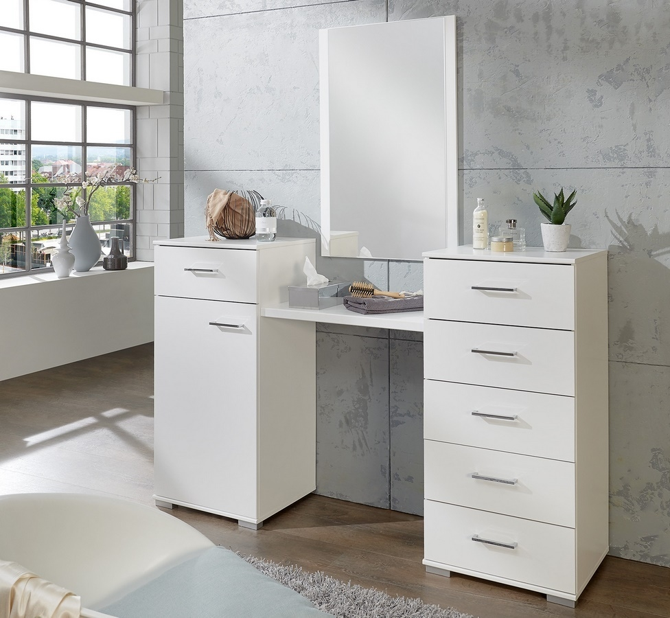 Toaletný stolík so zrkadlom PAMELA 310 alpská biela