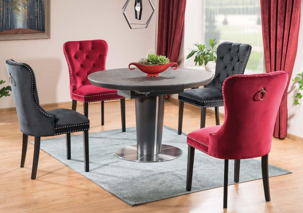 Jedálenská čalúnená stolička AUGUST VELVET modrá/čierna