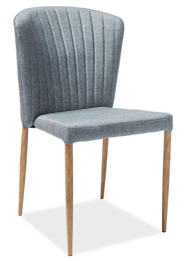 Jedálenská čalúnená stolička POLLY šedá/dub