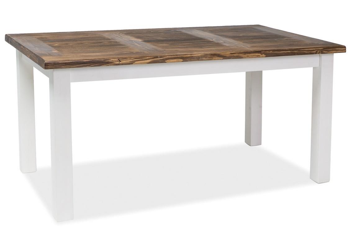 Jedálenský stôl Poprad 160x90 hnedý vosk/biela