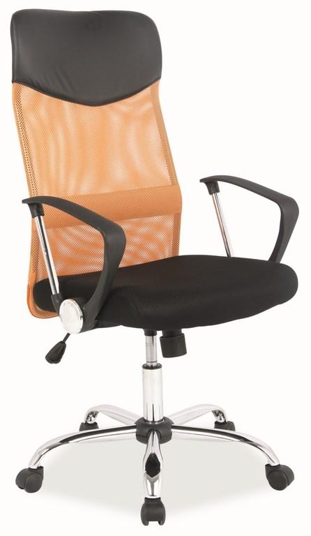 Kancelárska stolička Q-025 oranžová/čierna