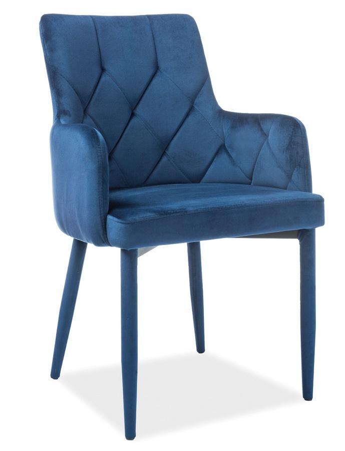 Jedálenská čalúnená stolička RICARDO VELVET modrá