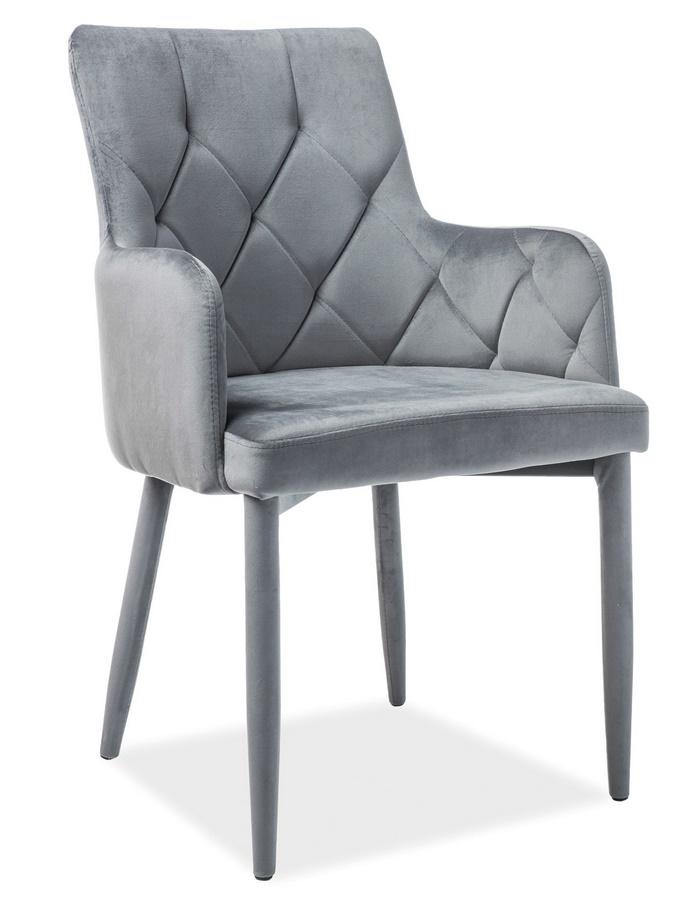 Jedálenská čalúnená stolička RICARDO VELVET šedá