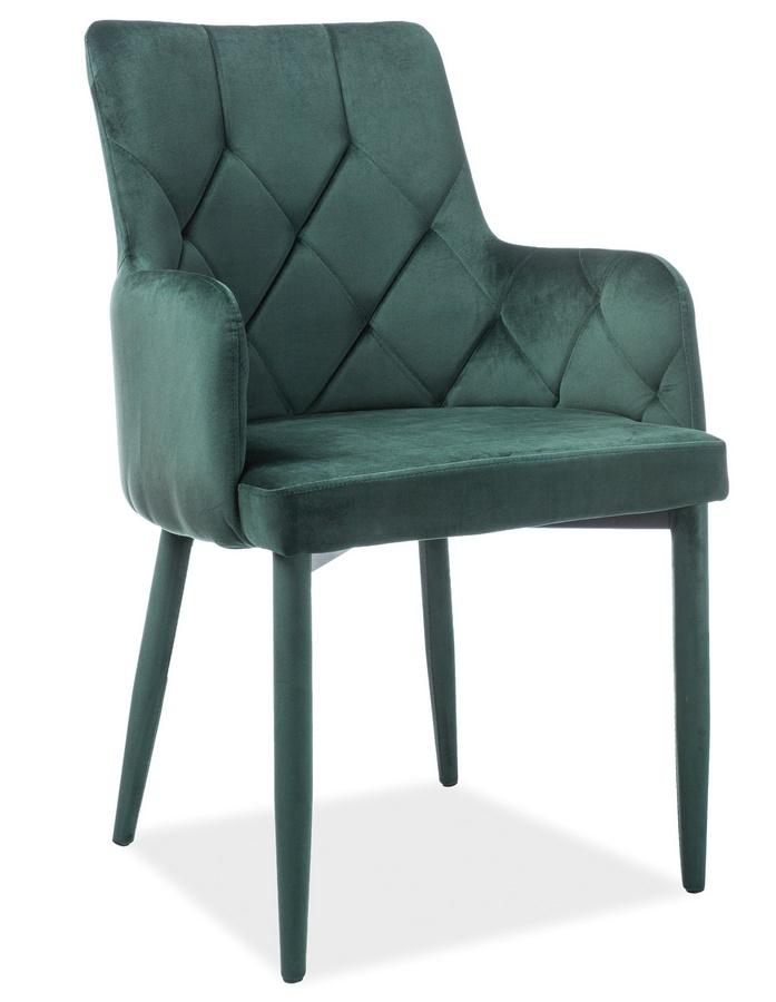 Jedálenská čalúnená stolička RICARDO VELVET zelená