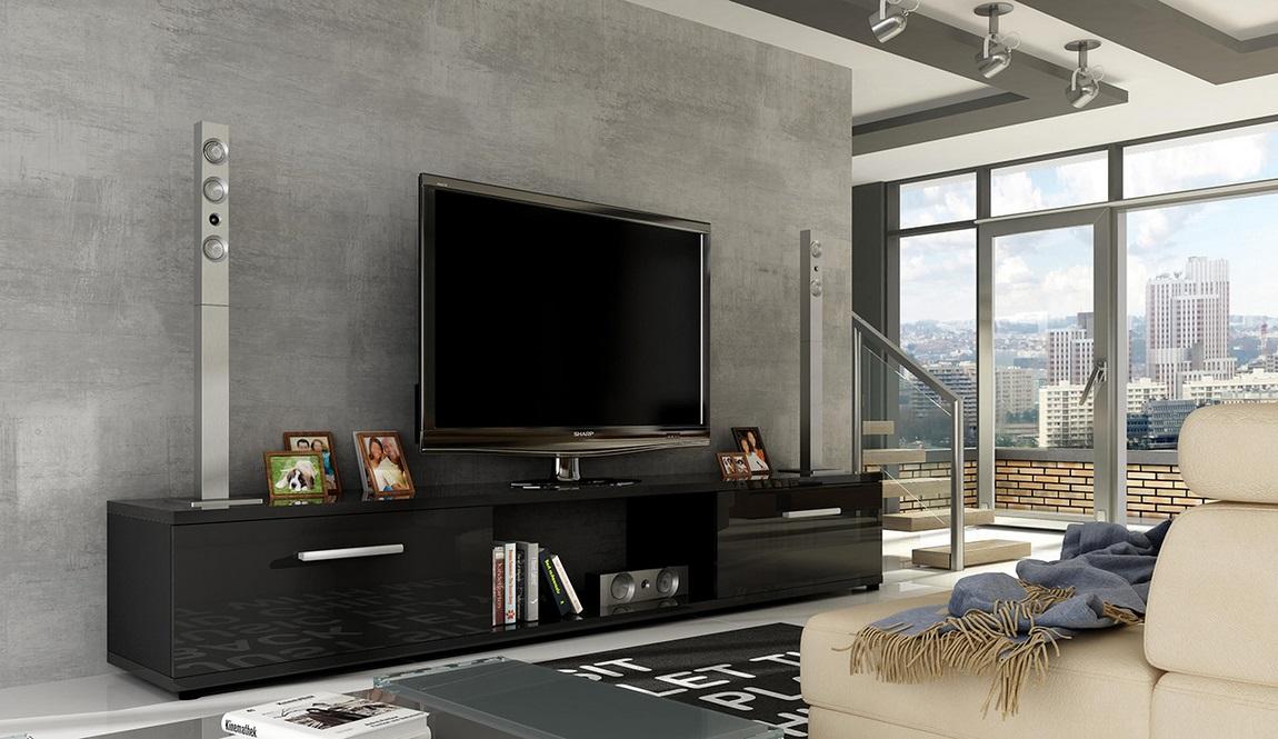 TV stolík MALTON černý lesk