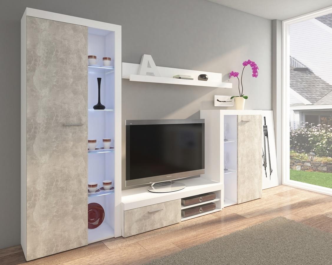 Obývacia stena RUMBA biela/beton