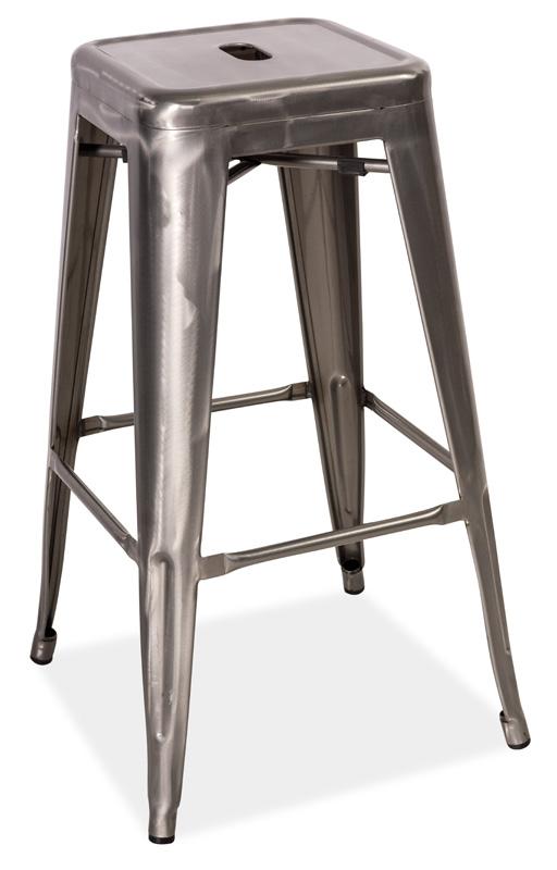Barová kovová stolička LONG ocel kartáčovaná