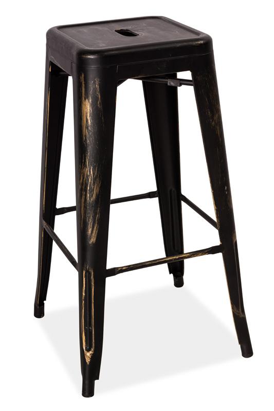 Barová kovová stolička LONG čierna přetíraná