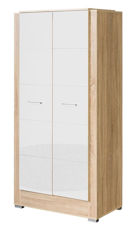 Šatní skříň CARMELO C22 sonoma/bílá lesk