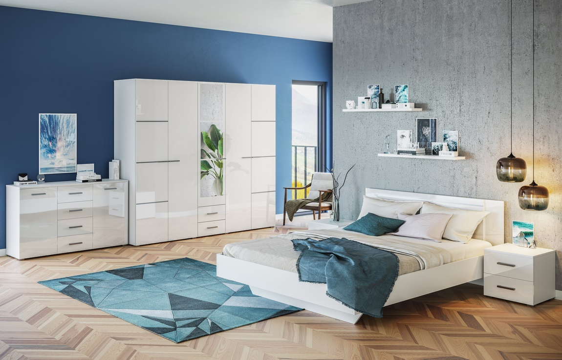 Ložnice CRUISE (postel 180, skříň, komoda, 2x n. stolek)