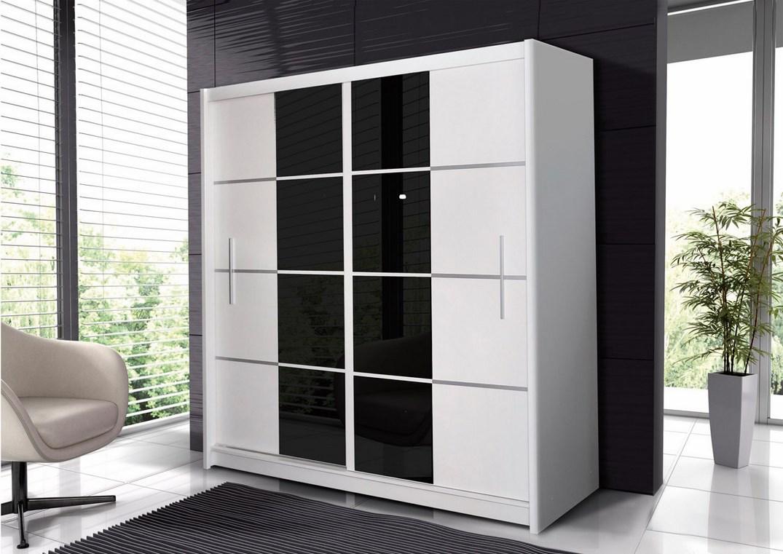 Šatní skříň PORTO 203 bílá/černá