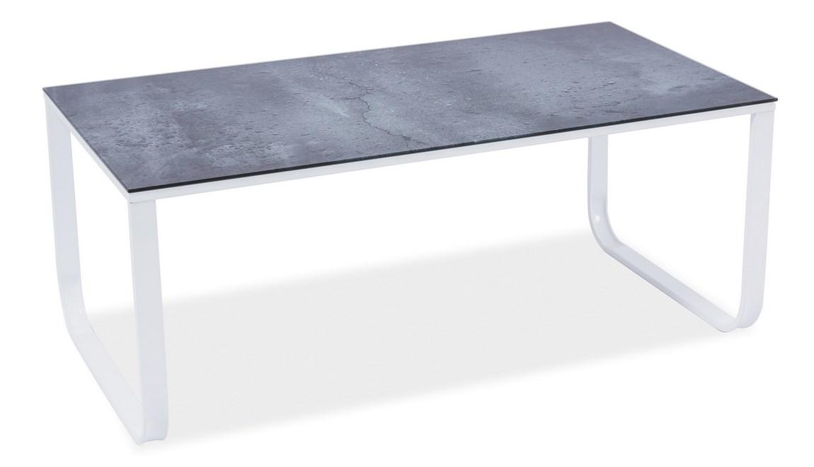 Konferenčný stolík TAXI II šedý kámen/biela