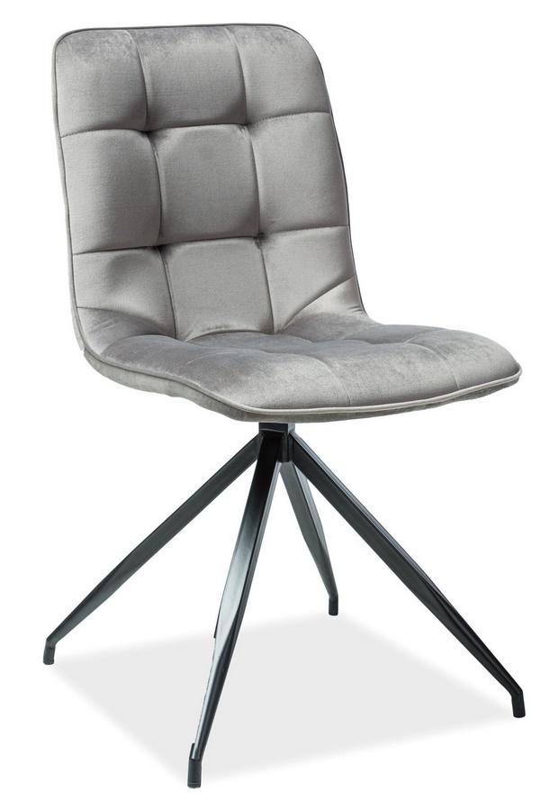 Jídelní čalouněná židle TEXO VELVET šedá