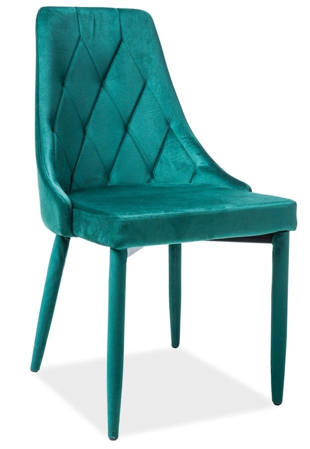 Jedálenská čalúnená stolička TRIX VELVET zelená