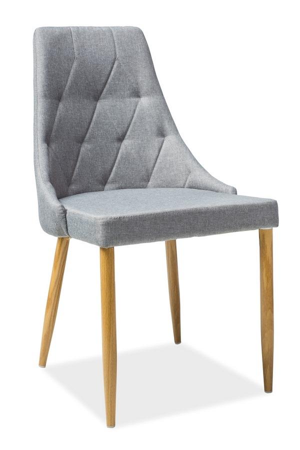 Jedálenská čalúnená stolička TRIX II šedá/dub