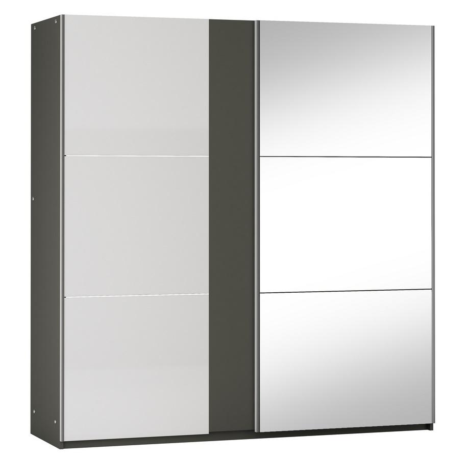 Šatní skříň TUNIS 200 grafit/bílá lesk