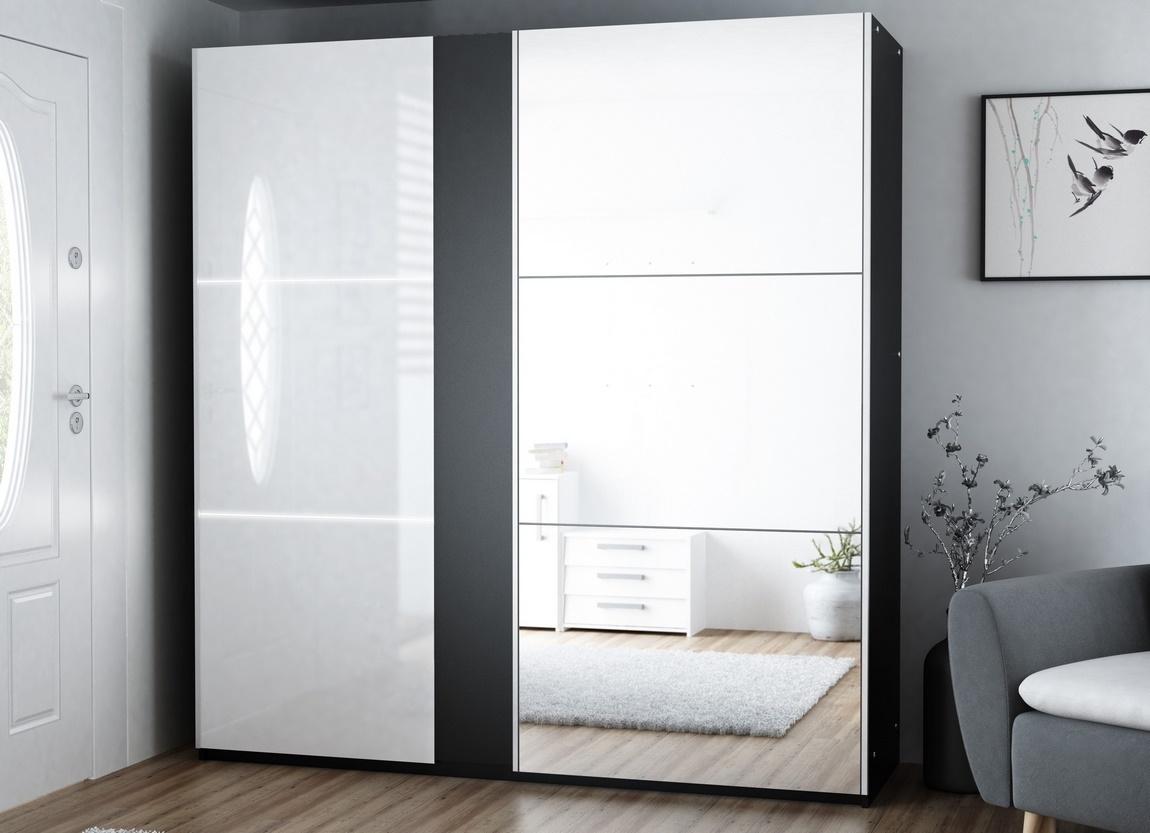 Šatní skříň TUNIS 200 černá/bílá lesk