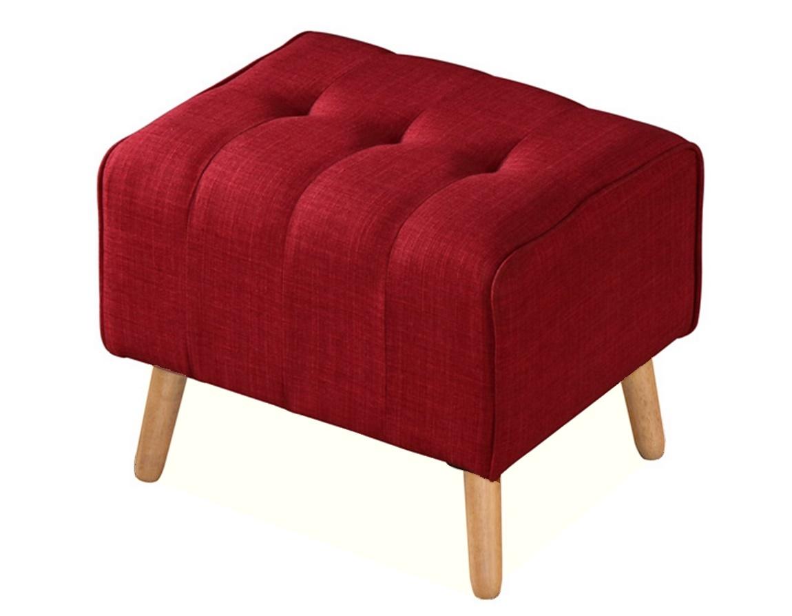 *Čalouněný taburet TURTLE červená/dub natural