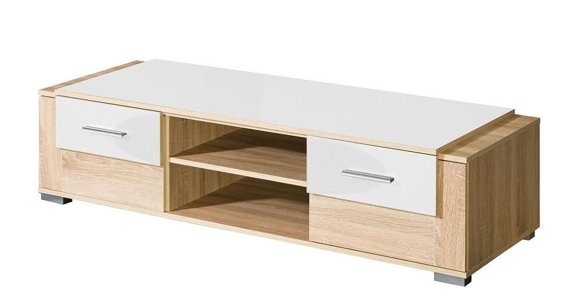 Televizní stolek CARMELO C3 sonoma/bílá lesk