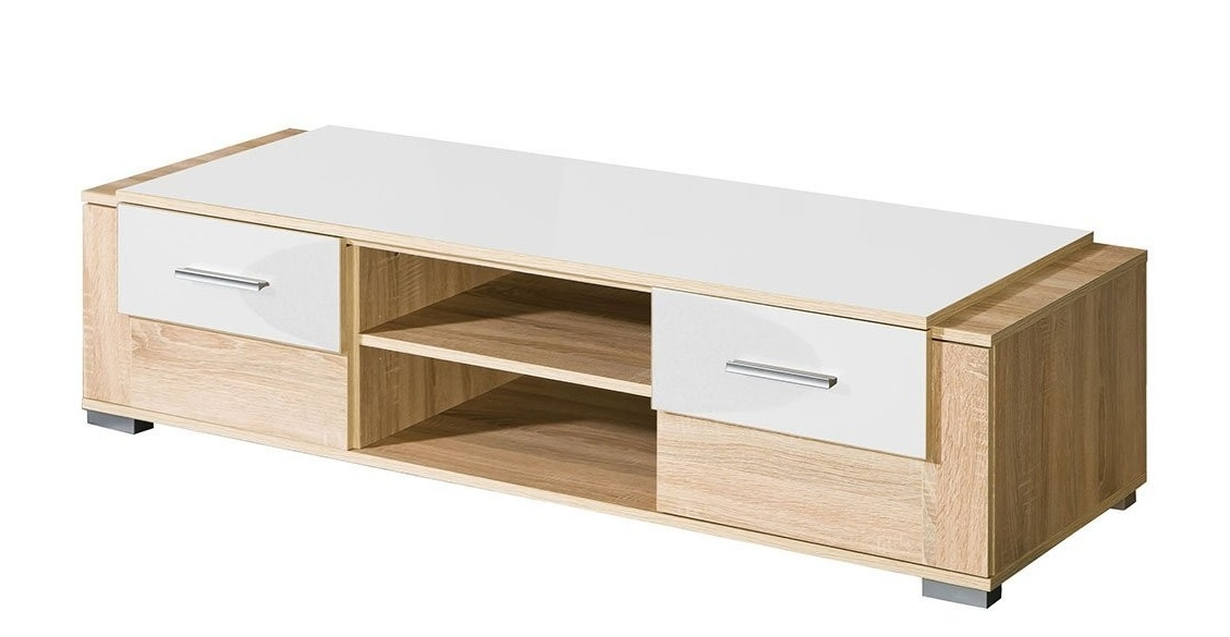TV stolík CARMELO C3 sonoma/biela lesk