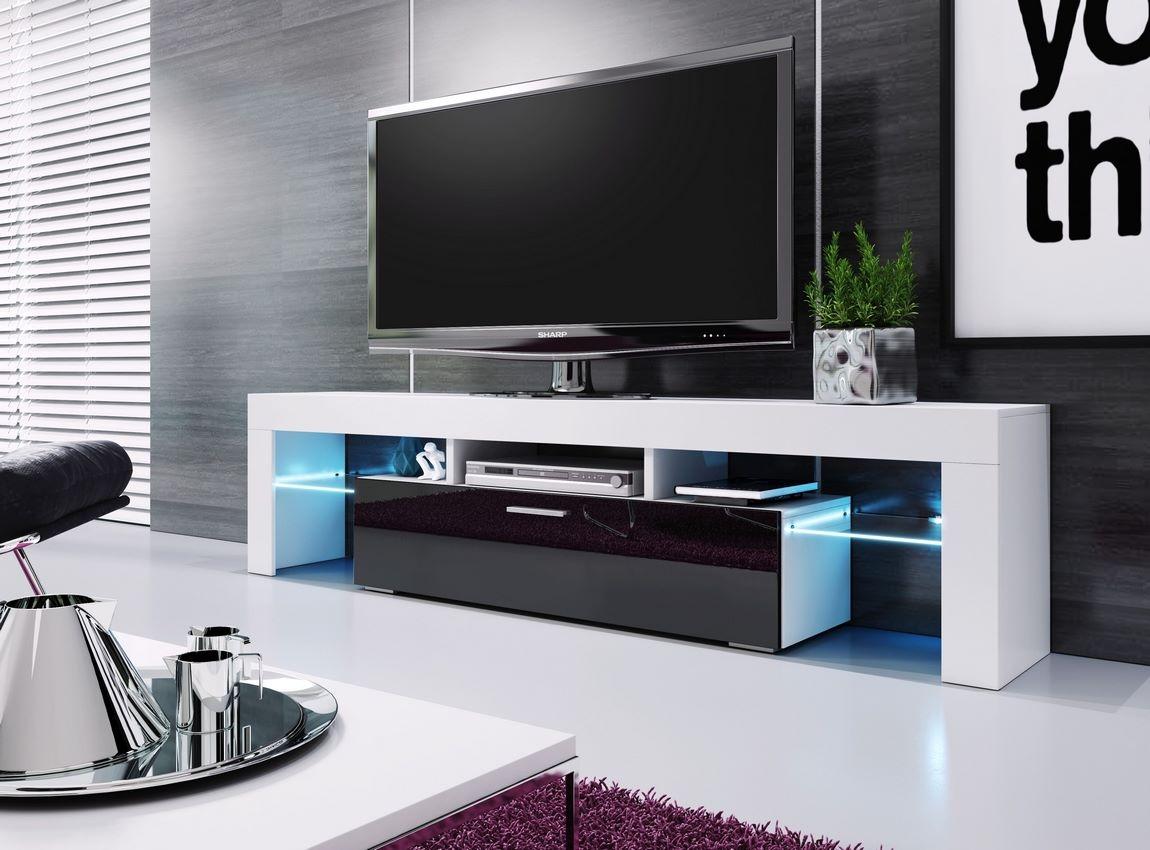 Televizní stolek VERA 190 bílá/černá vysoký lesk