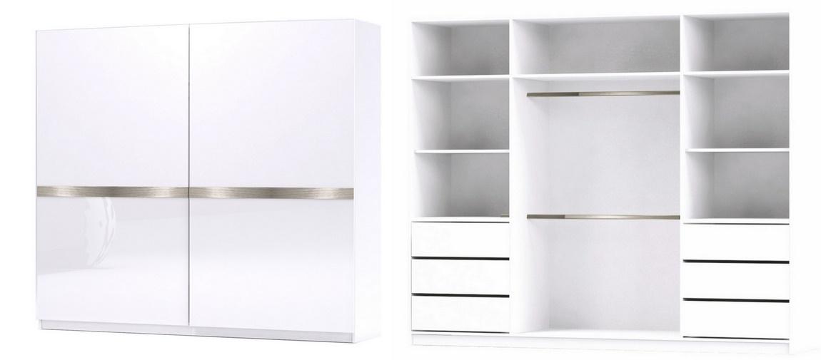 Šatní skříň GLOSSY varianta 1 bílá lesk