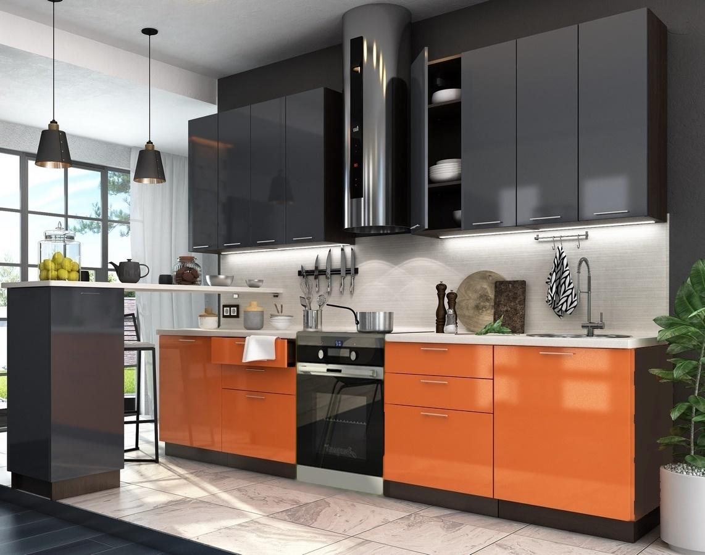 Kuchyně VALERIA 240 oranžová/antracit lesk