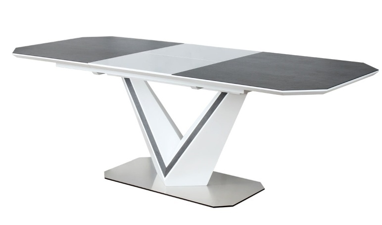 Jedálenský stôl rozkládací VALERIO CERAMIC šedá/biely mat