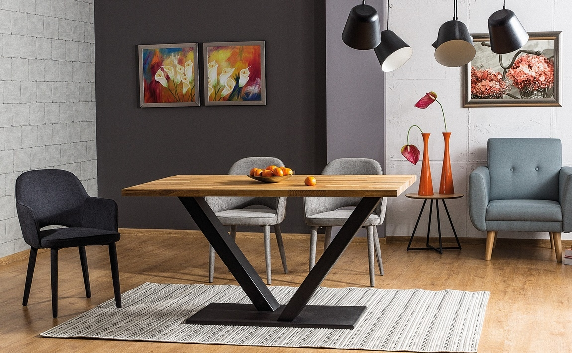 Jídelní stůl VECTOR dub masiv 180x90 cm