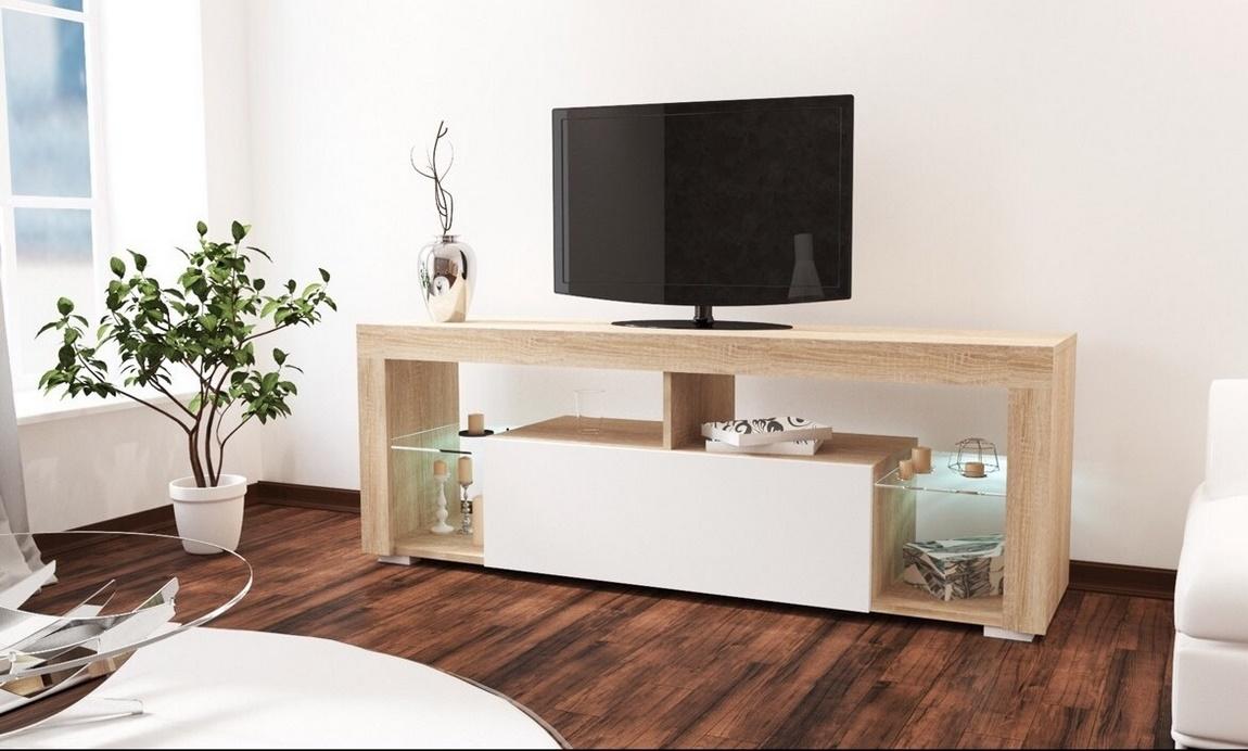 *Televizní stolek VEGAS sonoma/bílý lesk