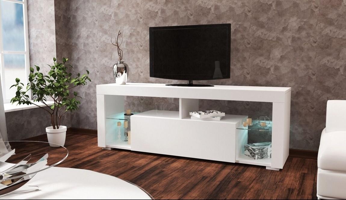 *Televizní stolek VEGAS bílá/bílý lesk