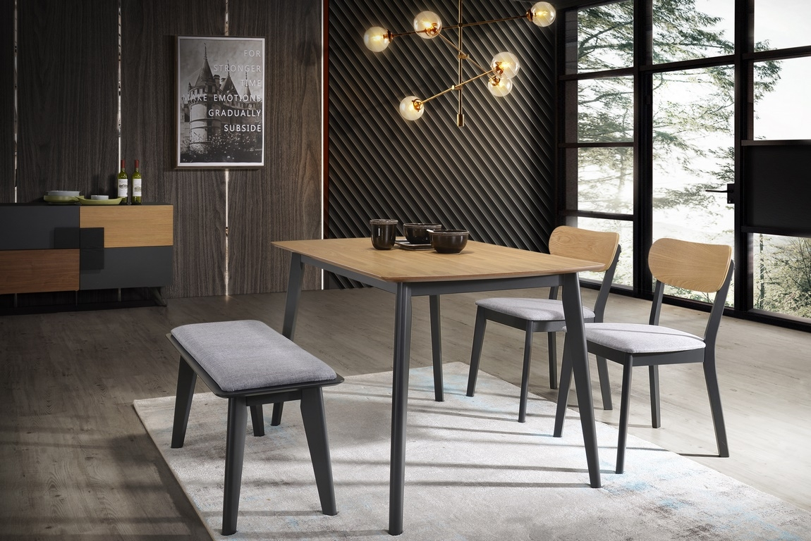 Jedálenská čalúnená stolička VITRO šedá/dub/grafit