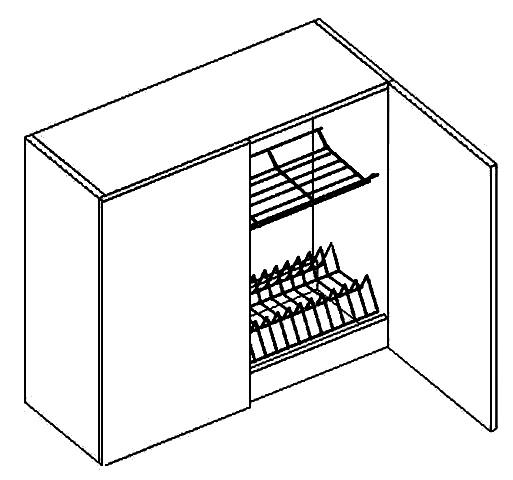 W80SU h. skříňka s odkapávačem PAULA šedá/mat. šedá