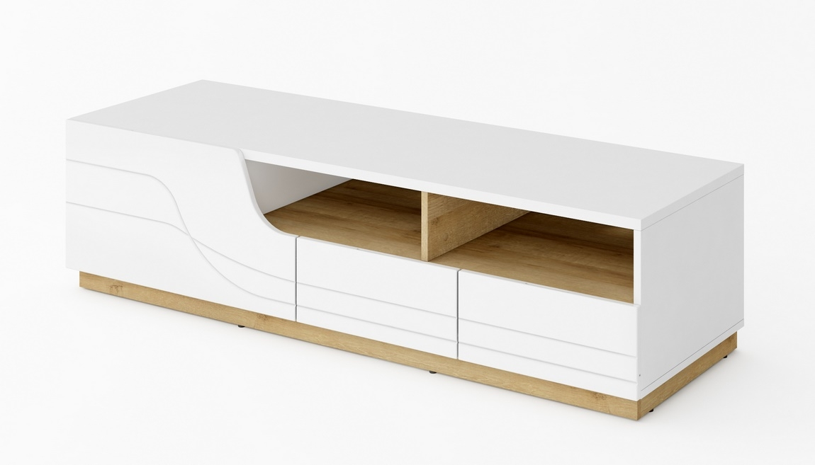 TV stolík 2D1S WAVE biela/dub riviera