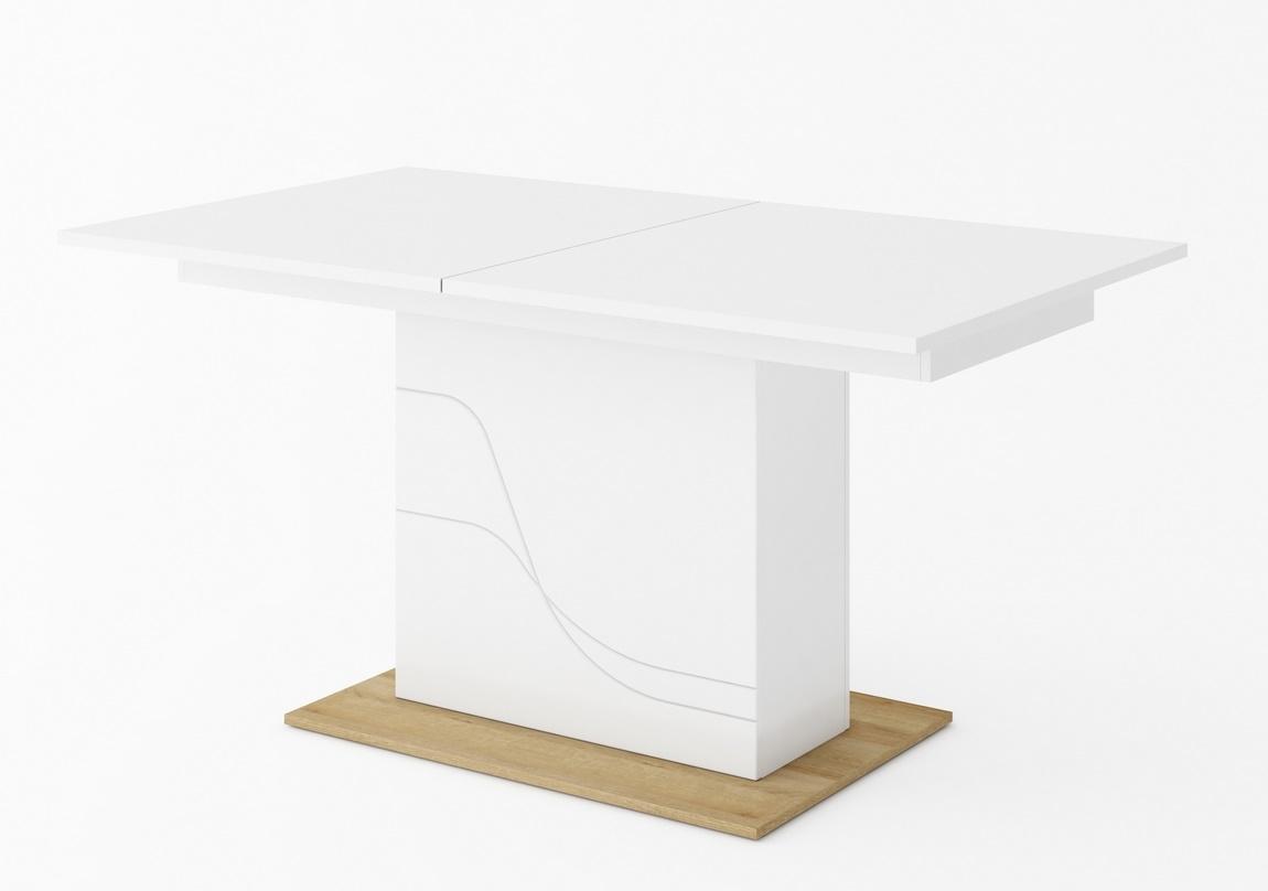 Rozkládací jedálenský stôl WAVE biela/dub riviera
