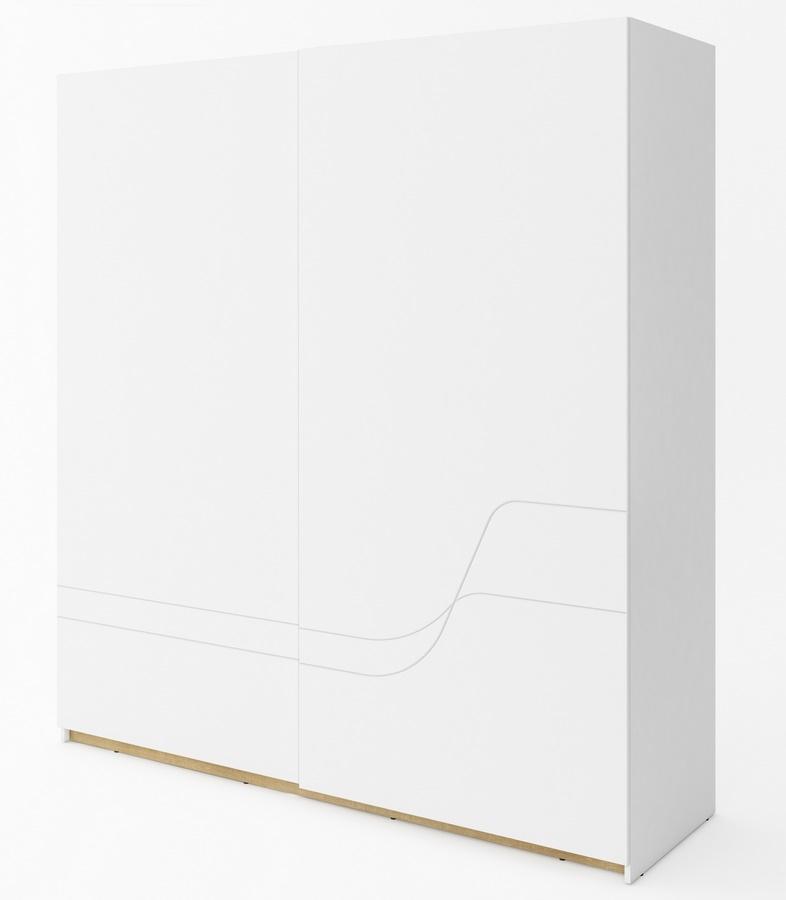 šatníková skriňa s posuvnými dveřmi  WAVE biela/dub riviera