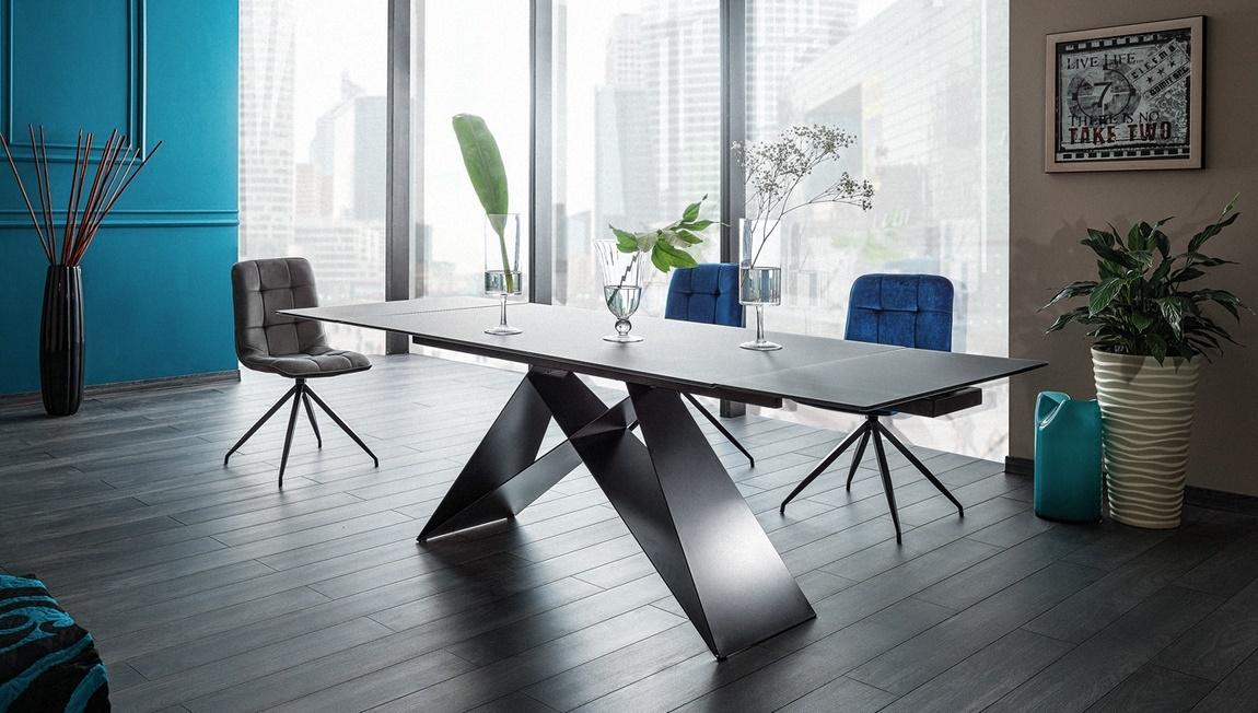 Jedálenský stôl rozkládací WESTIN čierna/černý mat