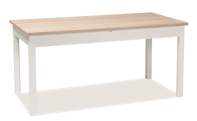 Jedálenský stôl rozkladací WIKTOR 140x75 biela/dub sonoma