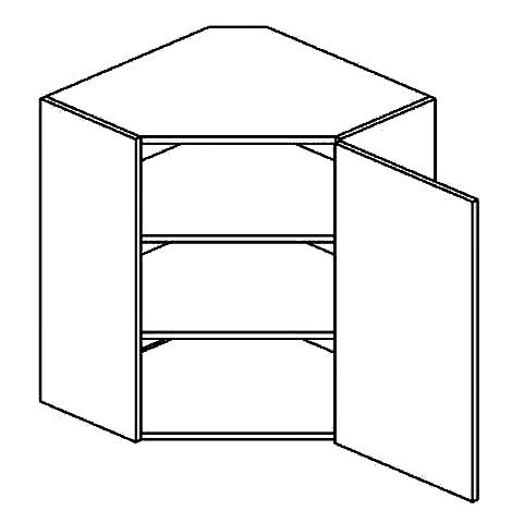 WR h. skříňka rohová pravá PAULA šedá/mat. šedá