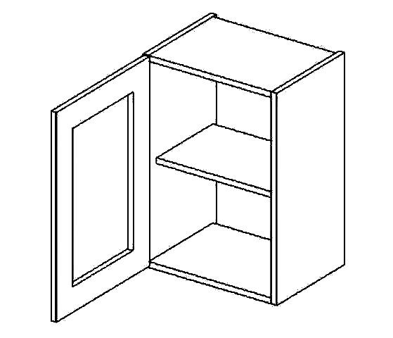 W40WL h. vitrína 1-dvéřová PREMIUM de LUX olše čiré sklo